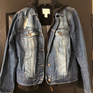 Distressed Denim Jacket with attached hoodie